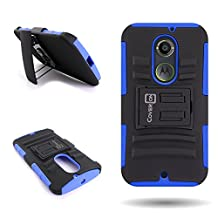 CoverON® for Motorola Moto X (2nd Gen, 2014) Belt Clip Holster Case [Explorer Series] Hybrid Heavy Duty Protective Phone Cover with Kickstand - ( Blue / Black )