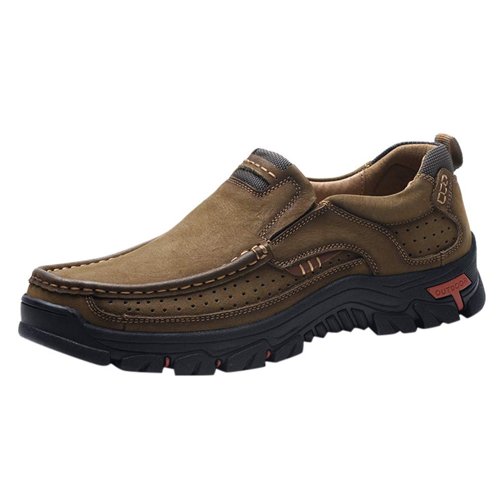 Men's Premium Leather Casual Breathable Hiking Shoes Comfortable Moccasins Hiking Walking Flat Shoes Brown by Lowprofile Men Shoes