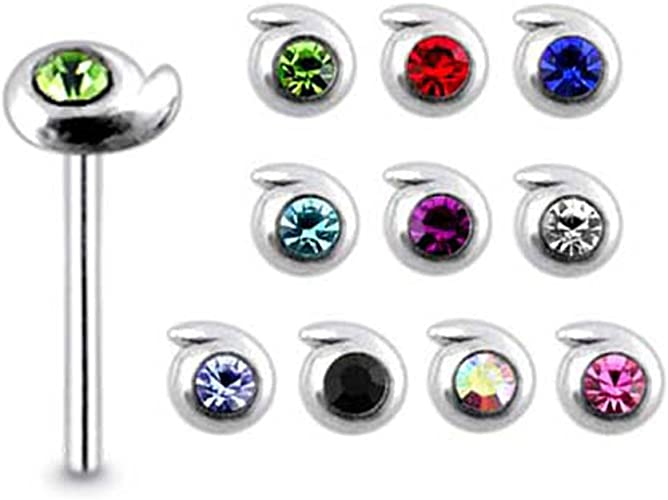0.8x8MM Straight End Nose Pin Pack of 5 Pieces Mix Color Jeweled Flower 925 Sterling Silver 20Gx5//16