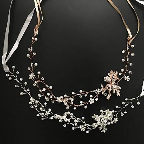 (Rose Gold Crystal Rhinestone Pearls Wedding Hair Accessories Hair Vine Hairb Bridal Headb Bridesmaids Jewelry Gold)