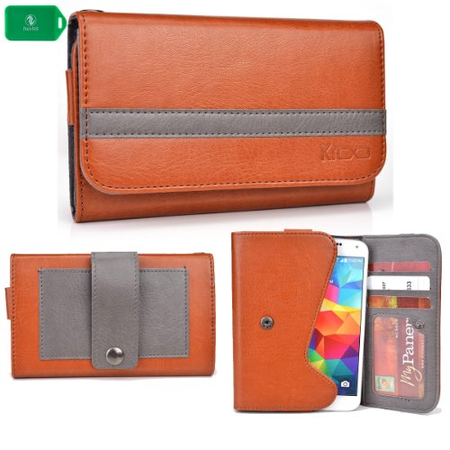 CLASSIC LADIES CELL PHONE HOLDER WITH INTERNAL CARD SLOTS & I.D WINDOW- - CAMEL BROWN/GREY - FITS LG G2