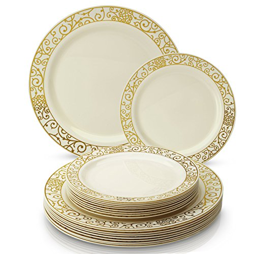 ELEGANT DISPOSABLE 240 PC DINNERWARE SET | 120 Dinner | 120 Side Plates | Heavy Duty Disposable Plastic Dishes | Elegant Fine China Look | for Upscale Wedding and Dining (Venetian Collection - Gold)