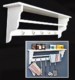 Estantería para la cocina, estante para la pared en estilo antiguo y cottage en blanco con toallero