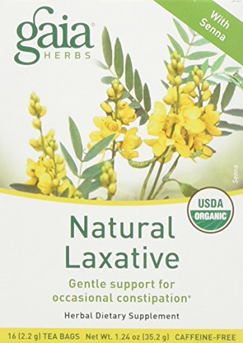 - Gaia Herbs Natural Laxative Herbal Tea, 1 Box of 16 Tea Bags