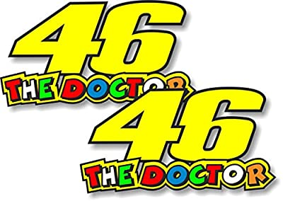 """2pcs Valentio Rossi 46 THE DOCTOR 4"""" Sticker / Decal / Label Tool Lunch Box Helmet Funny Flag /Bumper / Truck / Sticker / Decal 2"""""""