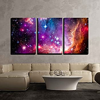wall26 3 Piece Canvas Wall Art - The Magellanic Cloud is a Dwarf Galaxy and a Galactic Neighbor of The Milky Way - Modern Home Decor Stretched and Framed Ready to Hang - 16