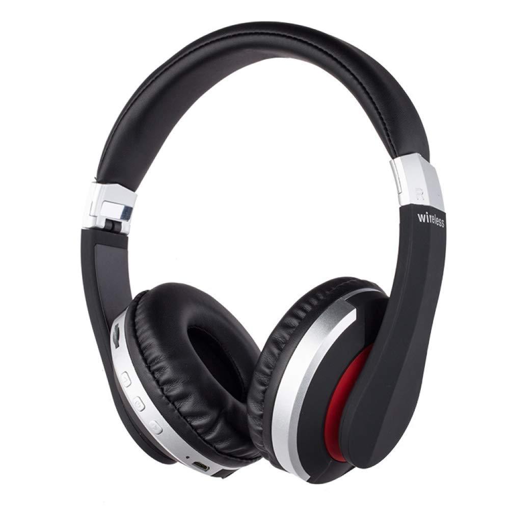 WYKsoku Bluetooth Earphones Headphones, Foldable Wireless Bluetooth 5.0 Over-Ear Headphone Heavy Bass Stereo Headset - Silver
