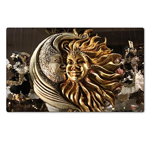 [Liili natural rubber Large Table Mat IMAGE ID 33351554 Typical Venetian Carnival Mask of a sun and moon] (Mardi Gras Masks Template)