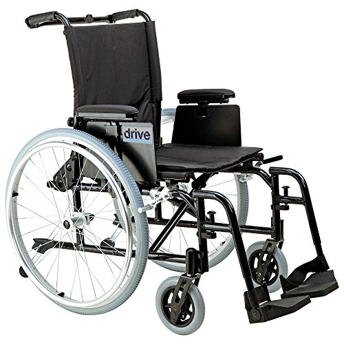 Drive Medical Cougar Ultra Lightweight Rehab Wheelchair with Various Arms Styles and Front Rigging Options, Black, 18 Inch ()