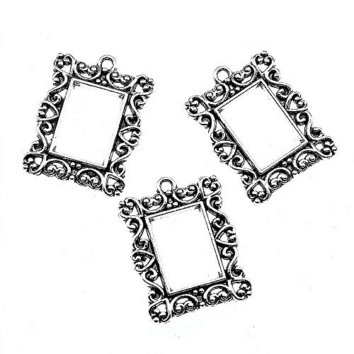 (Taliyah 8 Pieces Retro Rectangle Photo Frame Charms for Jewelry Craft Supplies)