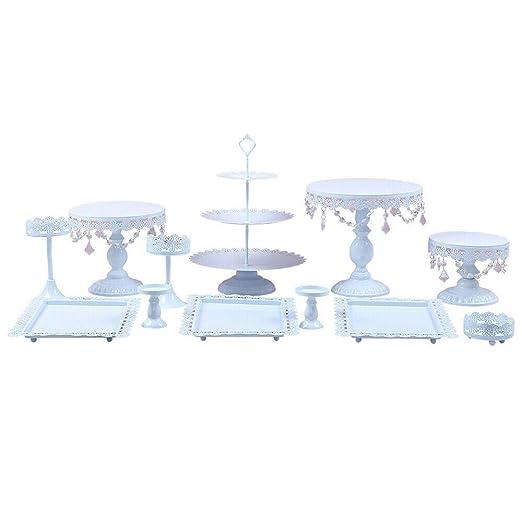 12 Bandejas para tartas Kit de soporte para pastel de boda Blanco con gradas Pop Soporte de pastel de cumpleaños Metal redondo Soporte para exhibición ...