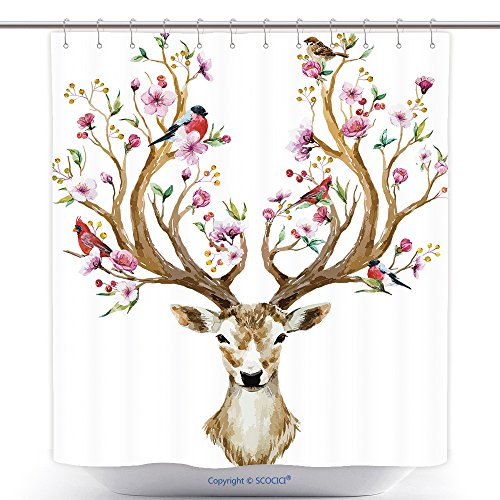 Halloween Costume Mounted Deer (Funky Shower Curtains Watercolor Vector Illustration Isolated Deer Big Antlers Flowers And Birds On The Horns 465391667 Polyester Bathroom Shower Curtain Set With)