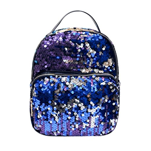 ROOSSI Sequins School Backpack Sports Daypacks Handbags Bling Travel Backpack Purple blue