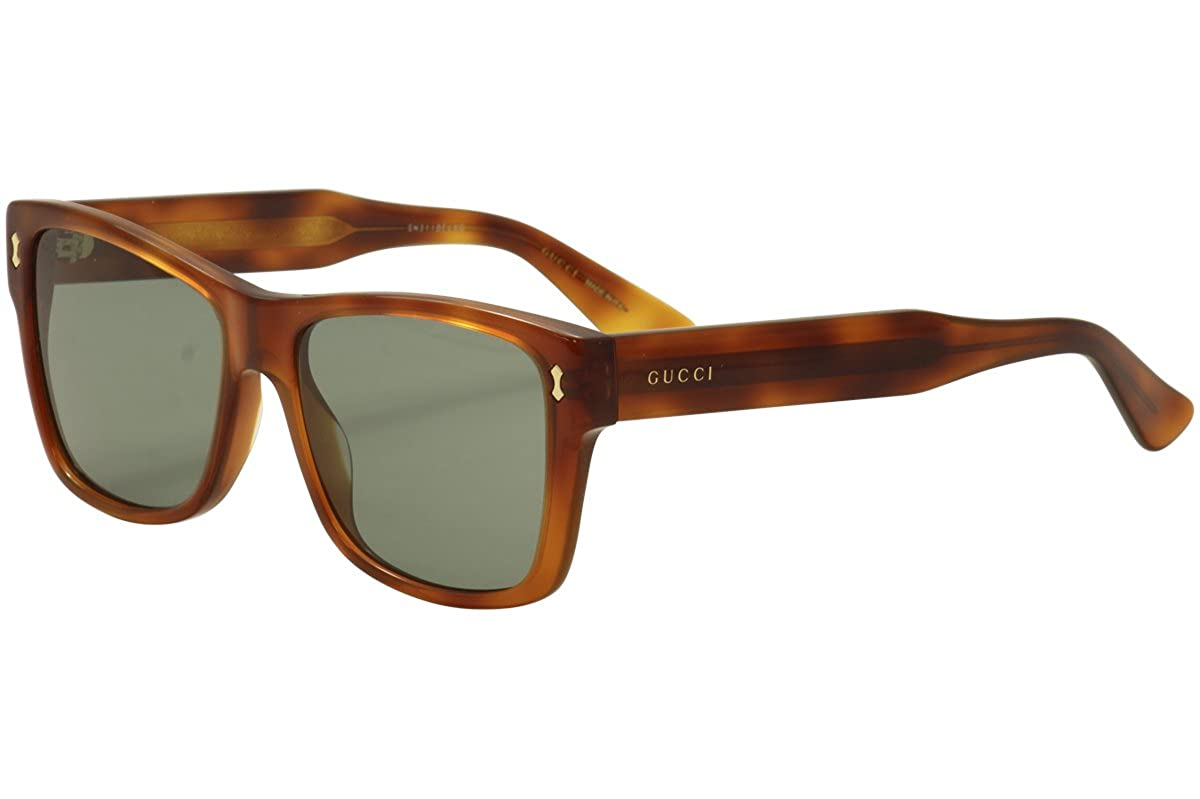 41849b7f85d Amazon.com  Gucci GG0052S 002 Havana-Brown With Green Lenses 55MM Sunglasses   Clothing