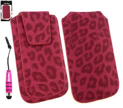 Emartbuy® Pack Stylet Pour Apple Iphone 3G / 3Gs Classique Range Faux Suede Leopard Diaporama Rose À Pouch / Case / Sleeve / Holder (Taille XL) Avec Rabat Magnétique Et Pull Mécanisme Tab + Metallic M