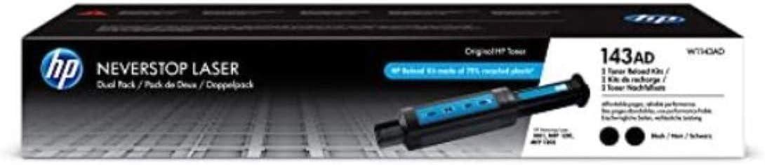 HP 143AD | 2 Pack Original NeverStop Toner Reload Kit | Black | W1143AD