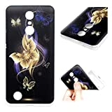 LG K8 Case (2018), Clear Slim Phone Cover Soft Flexible TPU Shockproof Full Body Protective Shield Anti-Scratch Rubber Bumper Cases for LG K8 GEMYON, Gold Butterfly