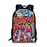 iPrint School Bags Graphic Decor,Hip Hop Street Culture Harlem New York Wall Graffiti Spray Artwork Image,Multicolor Boys&Girls Mens Sport Daypack