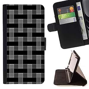 Momo Phone Case / Flip Funda de Cuero Case Cover - Modelo del papel pintado Gris Negro aleatoria - Samsung Galaxy S6 Active G890A