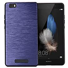 MOONCASE Huawei P8 Lite Case Dual Layer Brushed Anti-Scratch Hard PC Back Panel + Soft TPU Protective Case Cover for Huawei P8 Lite Blue