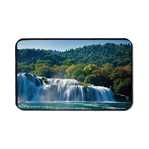Waterfall Office Mouse Pad,Scenic Waterfall on The River and Forest Wild Space Life on Earth Photo for Office Computer Desk,15.75''Wx23.62''Lx0.12''H