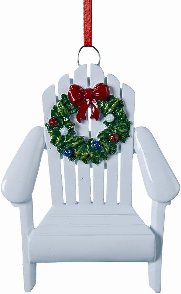 Amazon Com Kurt Adler Adirondack Chair Wreath White 4 Inch Resin Ornament Home Kitchen
