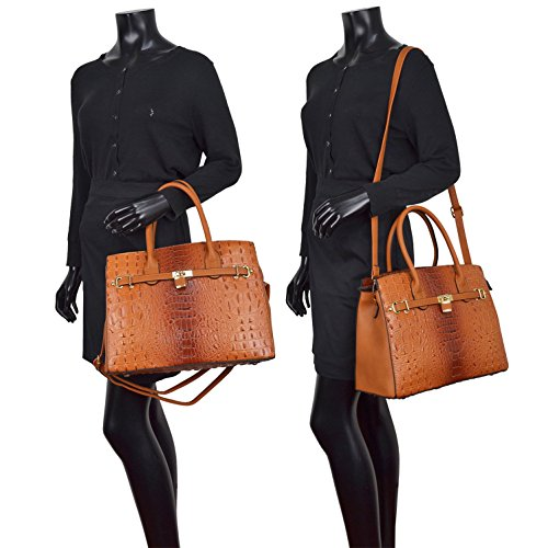 Leather Top Women Leather Designer Handle Bag Purse Set Large 2 black Ostrich Handbag Satchel Pieces Wallet Shoulder With wrrqg0Tzn