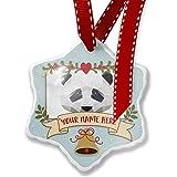 Add Your Own Custom Name, Geometric Animal art Panda Bear Christmas Ornament NEONBLOND
