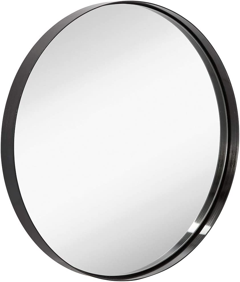 "Hamilton Hills 24"" Black Circle Deep Set Metal Round Frame Mirror Contemporary Brushed Metal Black Wall Mirror | Glass Panel Deep Set Design (24"" Round)"