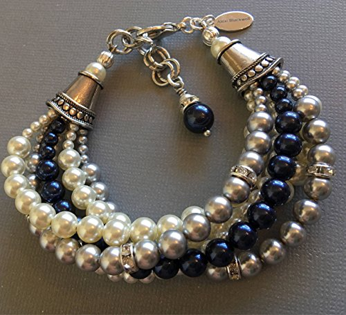 Navy Blue Bracelet 6 multi strands Swarovski pearls in Blue,Grey,White,Cream Ivory chunky pearl made in your size. Wedding jewelry bracelets by Alexi Blackwell Bridal