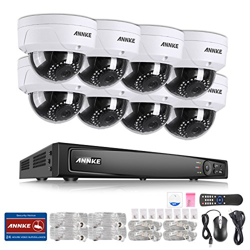 ANNKE Full 1080P POE Security Camera System 16 Channel 4K 2MP/4MP/6MP NVR Recorder and (8) HD 2.0MP 1920TVL Bullet IP Cameras, Motion Activated Mobile App Remote View by ANNKE