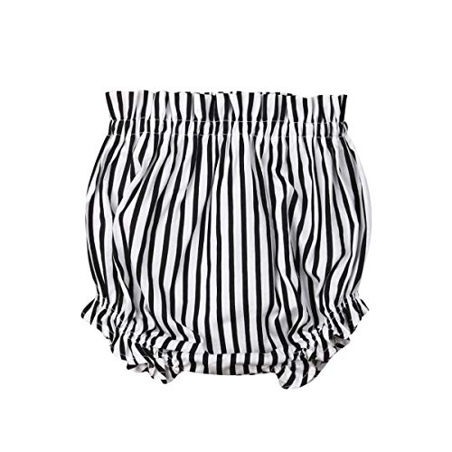 Newborn Toddler Baby Girls Kids Floral Bloomer Shorts Diaper Cover Clothes (3-4T, Black and White Stripe)