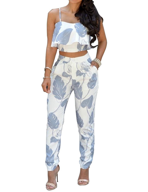Women 2 Pieces Spaghetti Strap Print Falbala Crop Top Long Pants Jumpsuit Romper