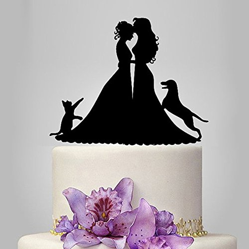 (Lesbian Cake Topper, Black Color Acrylic Silhouette Couple Bride and Bride with Dog and Cat Wedding Party Decorations, Wedding Gift for Ladies)
