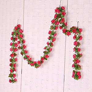 BROSCO 2 x Artificial Narcissus Wall Hanging Silk Flower Vine in/Outdoor Decor Rose 112