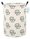 : LANGYASHAN Storage Bin,Canvas Fabric Collapsible Organizer Basket for Laundry Hamper,Toy Bins,Gift Baskets, Bedroom, Clothes,Baby Nursery(Lion)