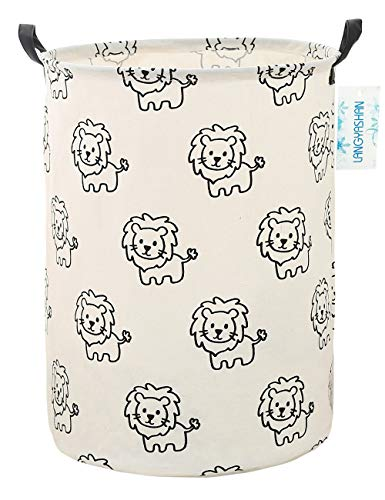 Storage Bin,Canvas Fabric Collapsible Organizer Basket for Laundry Hamper,Toy Bins,Gift Baskets, Bedroom, Clothes,Baby Nursery (Lion)