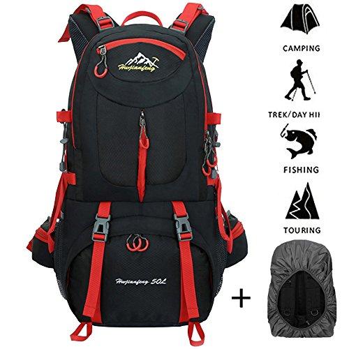 45L+5L Impermeable Mochila de Senderismo con Cubierta Lluvia, Paquete del Alpinismo Escalada Marcha Trekking Camping Deporte Al Aire Libre Unisex (púrpura) negro