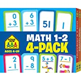 School Zone - Math Grades 1-2 Flash Cards 4-Pack - Ages 4 and Up, Addition, Subtraction, Numbers 1-100, and More (Flash Card 4-pk)