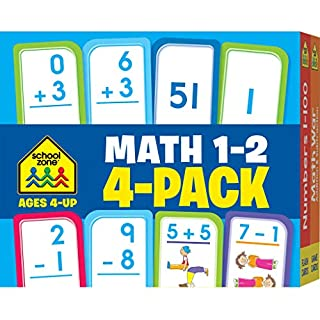 School Zone - Math 1-2 Flash Card 4-Pack - Ages 4+, Addition, Subtraction, Numbers 0-100, Math War Game, and More (Flash Card 4-pk)