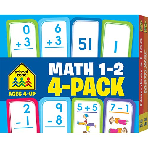 School Zone - Math 1-2 Flash Cards 4 Pack - Ages 4 and Up, 1st Grade, 2nd Grade, Addition, Subtraction, Numbers 1-100, and More (Flash Card 4-pk) (First Grade Addition Flash Cards)
