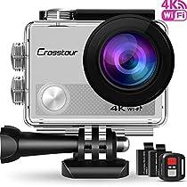 Crosstour 4K 16MP Action Cam WIFI Subacquea Ultra HD Sport Action Camera 170° Grandangolare due 1050mAh Batterie Custodia Impermeabile e Kit di Accessori