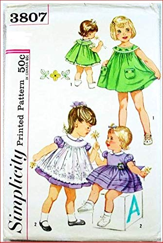 (Simplicity 3807 Toddler's Dress, Pinafore and Panties, Transfer Included, Vintage Sewing Pattern Check Offers for Size)