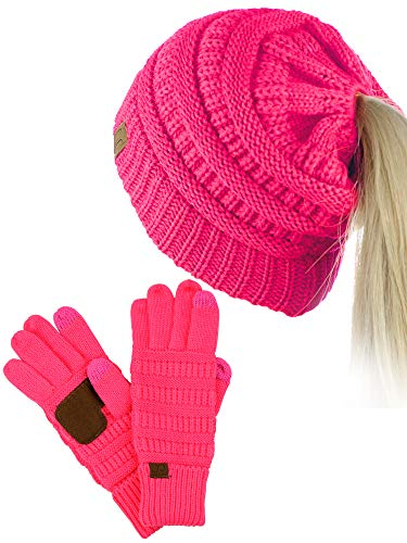 C.C BeanieTail Messy High Bun Cable Knit Beanie and Anti-Slip Touchscreen Gloves Set, Candy Pink