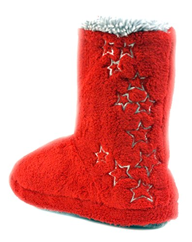 Luckers Womens Stars Slipper Boots Fluffy Red VhnMbc