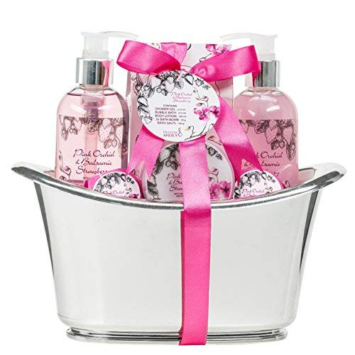 Bath, Body, and Spa Gift Set for Women, in Pink Orchid and Balsamic Strawberry Fragrance, includes Bath Bombs, Skincare Lotion, Bath Salts, Bubble Bath, and Shower Gel, with Shea Butter and Vitamin E (Tags Lotion Gift)