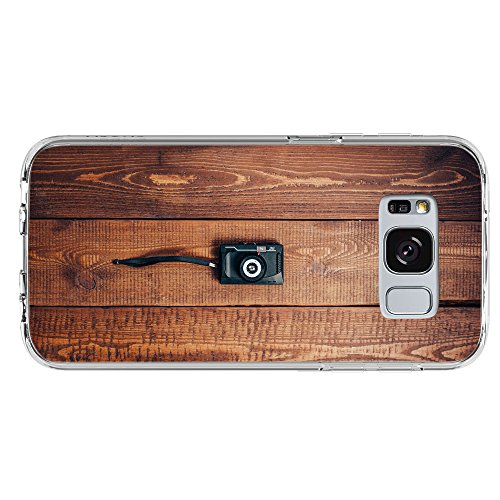 Image Of Classic Vintage Camera on Wooden Floor Samsung Galaxy S8 Plus Clear Phone Case