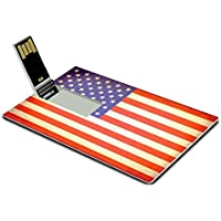 Luxlady 32GB USB Flash Drive 2.0 Memory Stick Credit Card Size Vintage style Grunge American flag IMAGE 28266055