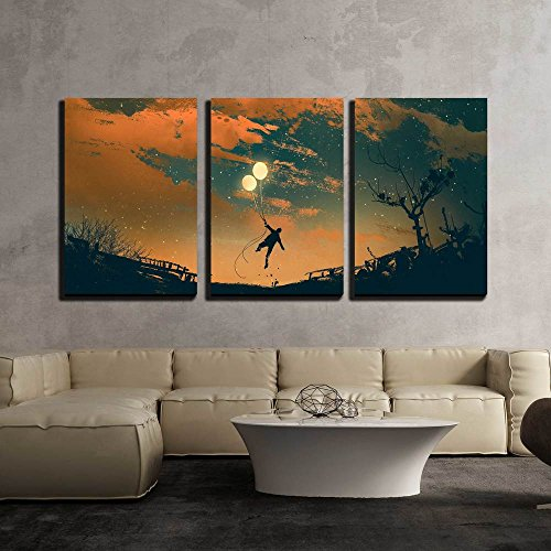 Man Flying with Balloon Lights at Sunset Illustration Painting x3 Panels