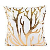 Pillowcase Bronzing Throw Pillow Covers Gold Letter Heart Tree Pattern Design with Zipper Home Decor for Sofa Slipcover Decorative 18x18 inch